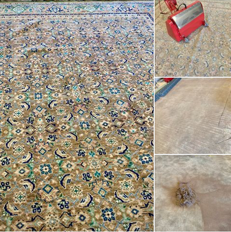 Dry soil removal from a handmade wool rug